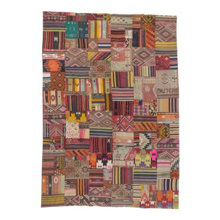 Vintage Turkish Kilim Patchwork Rug- 9′10″ × 14′