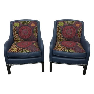Navy Leather Club Chairs -A Pair
