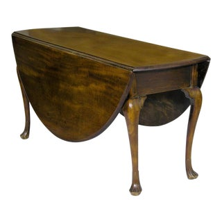 Mahogany Queen Anne Oval Dropleaf Table with Trifid Feet