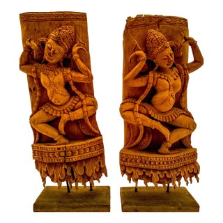 Matching Khmer-Styled Aspara Carved in Teak