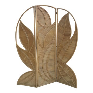 Split Bamboo Palm Leaf Screen Folding Room Divider