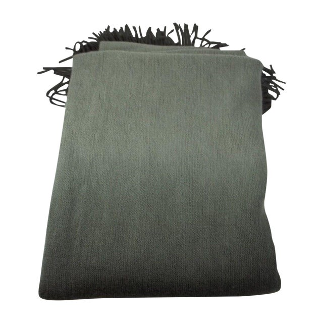 West Elm Ombre Gray Charcoal Fringe Throw - Image 1 of 4