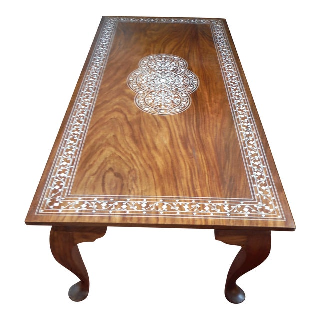 Pakistani Inlayed Rosewood Coffee Table - Image 1 of 9