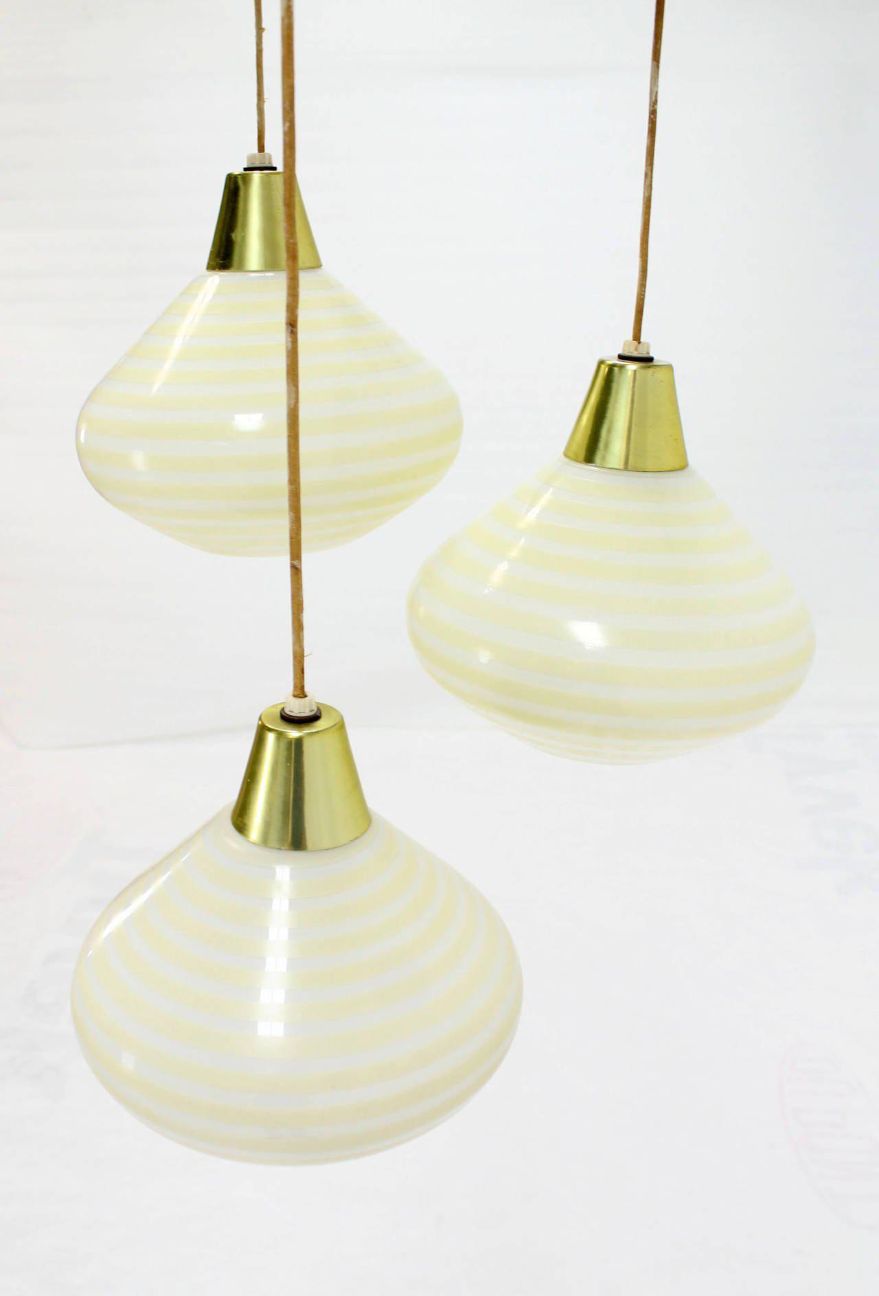 1960s Triple Art Glass Stripe Pattern Cone Shape Pendant Globe Light Fixture - Image 3 of  sc 1 st  DECASO & Exquisite 1960s Triple Art Glass Stripe Pattern Cone Shape Pendant ... azcodes.com