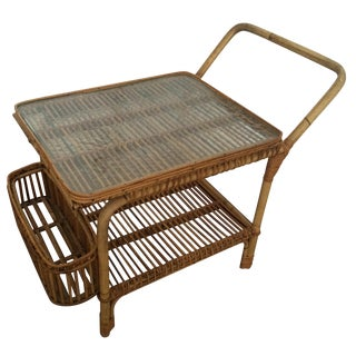 Vintage Rattan & Hammered Glass Cart