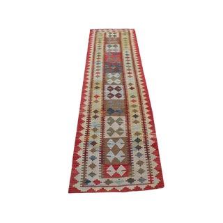 Afghani Handmade Vegetable Dye Kilim Runner- 2′6″ × 9′3″