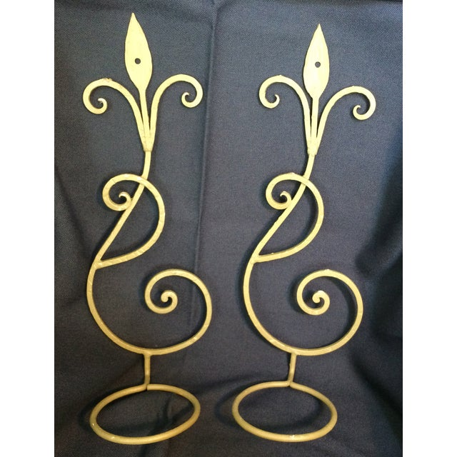 Wrought Iron Wall Candle Sconces - A Pair - Image 2 of 6