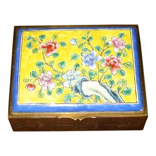 Vintage Painted Enamel Cigarette Box