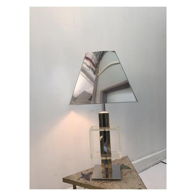 Image of Charles Hollis Jones Brass, Chrome & Lucite Lamp
