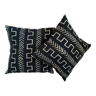 Black and White Mud Cloth Pillow Covers - a Pair