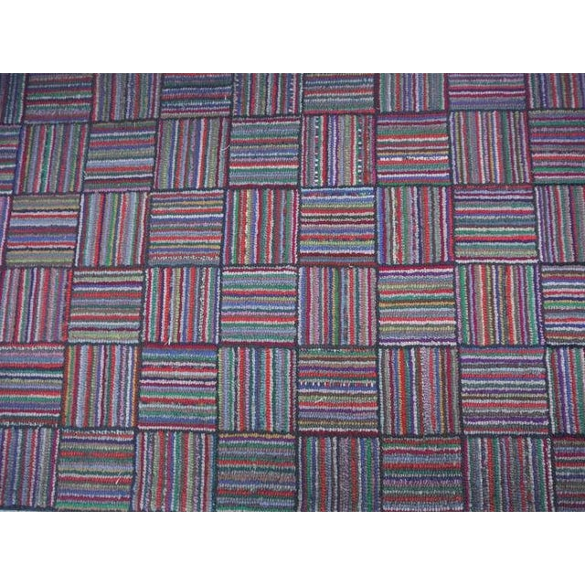 Amazing Long Hand-Hooked Runner Rug in Log Cabin Pattern # 2 - Image 3 of 5