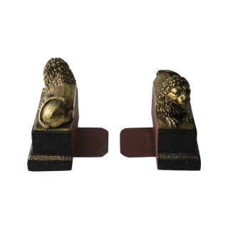 Gold & Black Lion Bookends - a Pair
