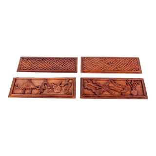 Chinese Hand-Carved Wooden Geometric & Figural Panels - Set of 4