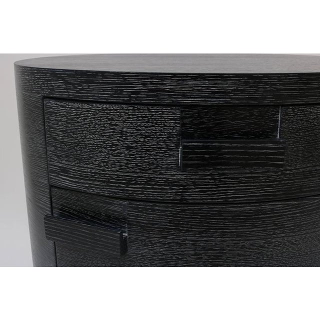 Image of Pair of Bedside Chest, Style of Jay Spectre in Cerused Black Oak