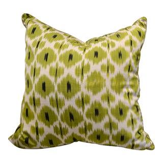 "Madeline Weinrib Celery ""Daphne"" Green Ikat Pillow"
