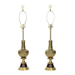Pair of Pumpkin Shape Brass Table Lamps by Stiffel