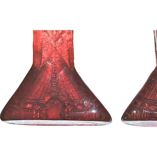 Image of Blenko Amberina Teepee Glass Bookends, 1970s