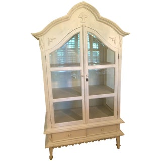 Distressed White Display Armoire