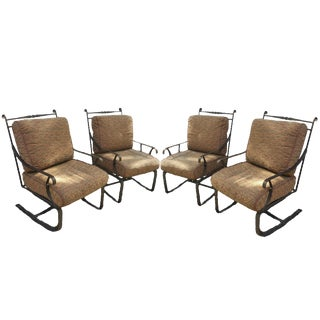 Hand Forged Wrought Iron Patio Lounge Chairs - Set of 4