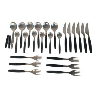 1975 Georg Jensen Black Strata Stainless Flatware - Set of 24