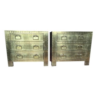 Vintage Brass Sarreid Nailhead Chests - A Pair