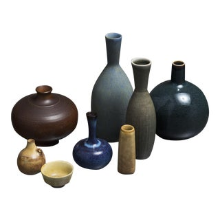 Collection of eight Ceramic Pieces by Stalhane And Nylund for Rorstrand, Sweden
