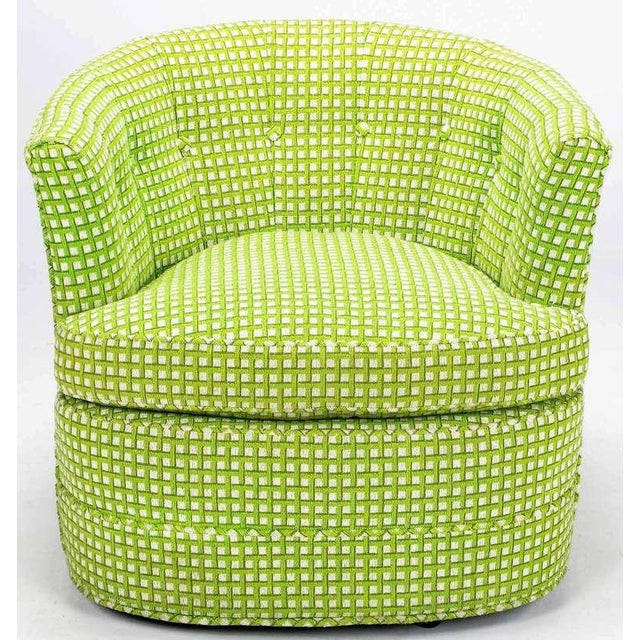 Pair Barrel Back Swivel Chairs In Chartreuse Needlepoint - Image 3 of 8