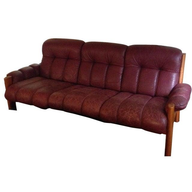 danish modern brown leather sofa chairish