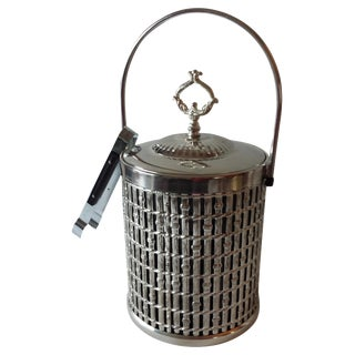 Rattan-Design Chrome Ice Bucket