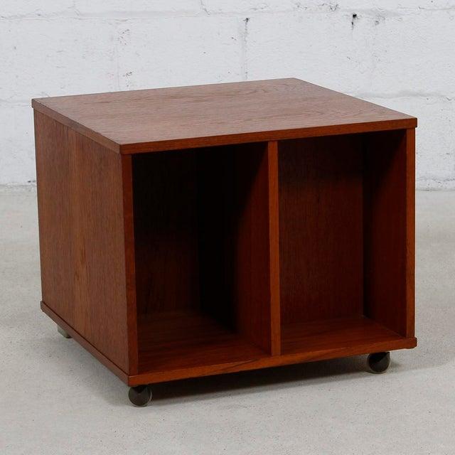 Rolling Vinyl / Book Caddy / Multifunctional Storage Cube in Teak - Image 2 of 10