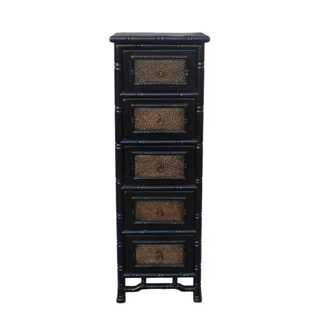 Image of Black Rattan Bamboo 5 Drawers Chests - A Pair
