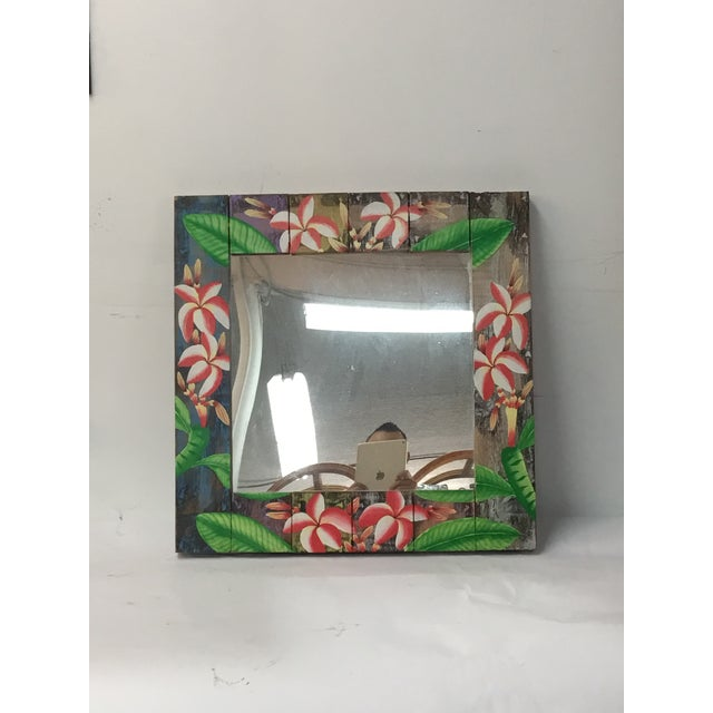 Image of Floral Wooden Mirror