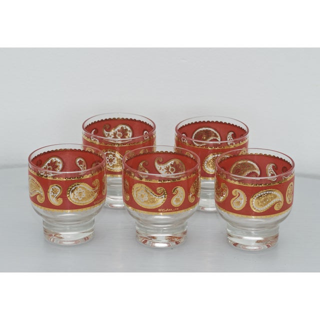 Image of Culver MCM Red Paisley 22k Gold Glasses - Set of 5