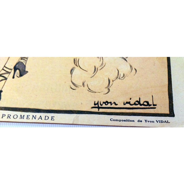 "Original 1920 ""En Promenade"" Fashion Print - Image 8 of 9"