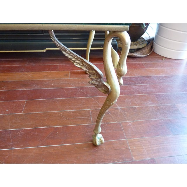 Winged Swan Brass & Glass Coffee Table - Image 5 of 8