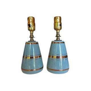 Seafoam & Gold Lamps - A Pair