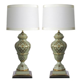 A good quality and elegant pair of Marbro Lamp Co. 1960's baluster-form celadon-glazed lamps with gilt decoration