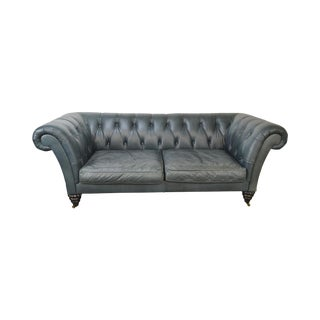 Quality Tufted Leather Regency Style Chesterfield Sofa