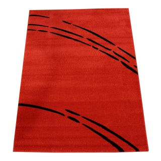 Red & Black Contemporary Rug - 4′ × 6′