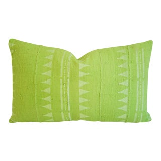Lime Green Mali Mud Cloth Lumbar Feather/Down Pillow