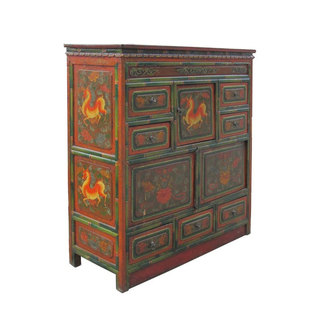 Image of Chinese Deer Flower Accent Multi-Storage Cabinet