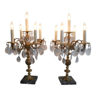 5 Light Brass Candelabra Lamps - A Pair