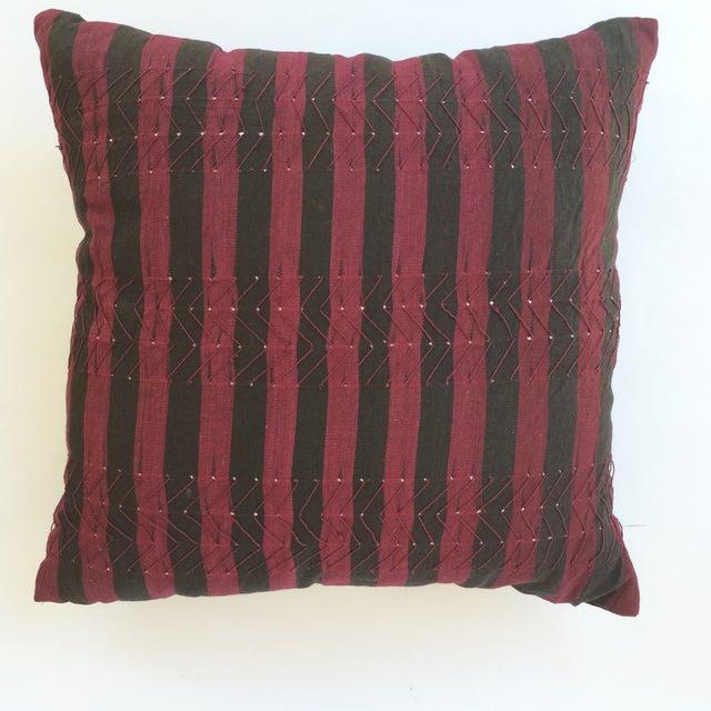 Vintage Nigerian Ashoke Cloth Pillow - Image 2 of 3
