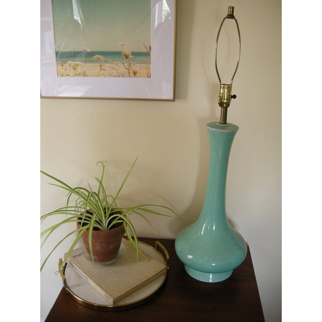 Vintage Mid-Century Modern Turquoise Table Lamp - Image 7 of 7