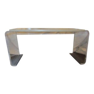 Lucite & Whitewashed Wood Top Accent Table