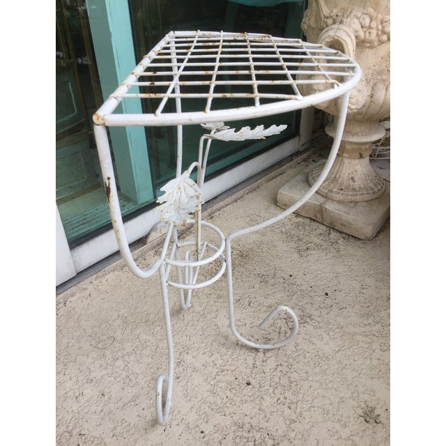 White Steel Mesh Coated Metal Demi-Lune Side Tables - a Pair - Image 4 of 6