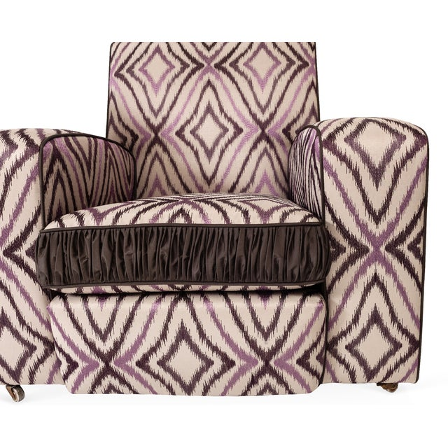Art Deco Ikat Silk Fabric Club Chairs - A Pair - Image 4 of 4