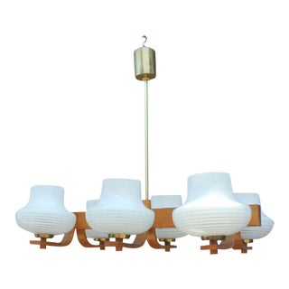 Circa 1940s French Art Deco Six Light Chandelier