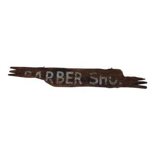 Antique Wood Barber Shop Sign