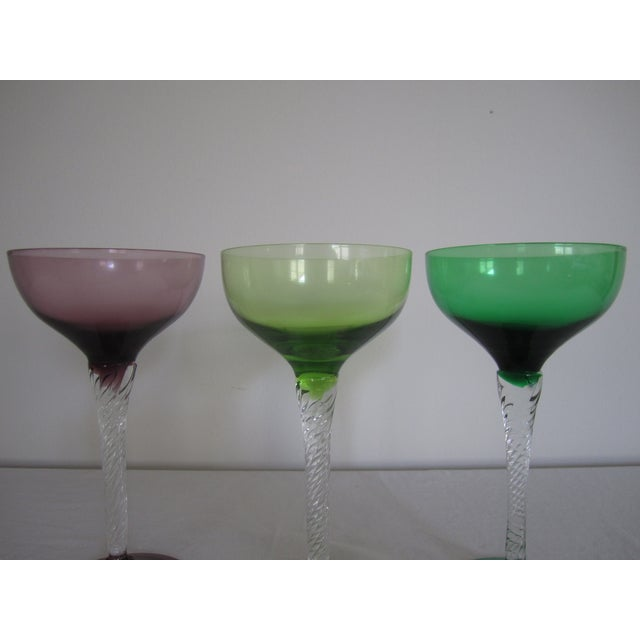 Vintage Blown Glass Champagne Glasses - Set of 3 - Image 4 of 8
